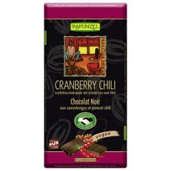 Rapunzel - Zartbitterschokolade mit Cranberries und Chili - 80g
