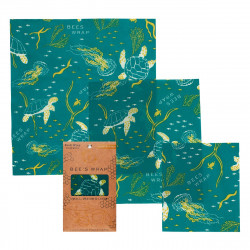 Bees Wrap - oilcloth Oceans Print, Set of 3