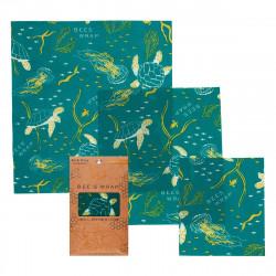 Bees Wrap - toile cirée Oceans Print, Set de 3