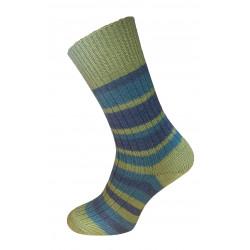 Hirsch Natur - striped sock organic virgin wool - green