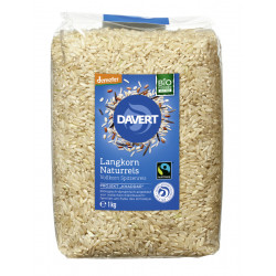 Davert - riz brun à grains longs, grains entiers - 1kg