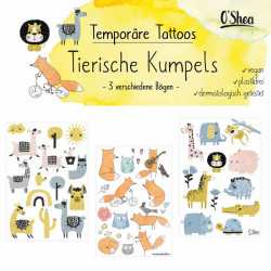 Lipfein - tatuaggi adesivi amici animali - 3 fogli