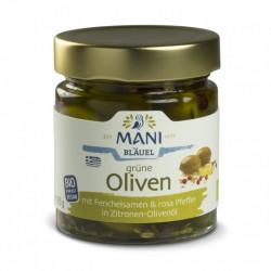 MANI - Olive verdi con semi di finocchio, pepe rosa in olio di oliva al limone - 185 g