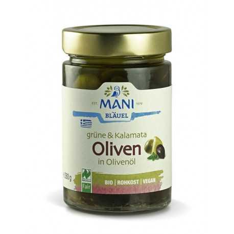 MANI - Organic Green & Kalamata Olives in Olive Oil - 280 g